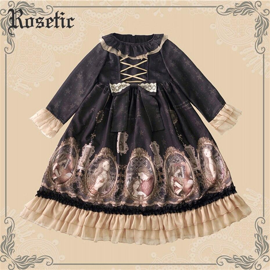 Robe Lolita gothique rose Bandage Vintage dentelle imprimé nœud doux mignon japon femmes Cosplay classique Costume femme Lolita Collection