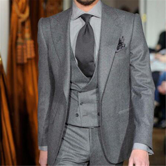 Latest Coat Pant Designs Grey Tweed Men Suit Double Breasted Slim