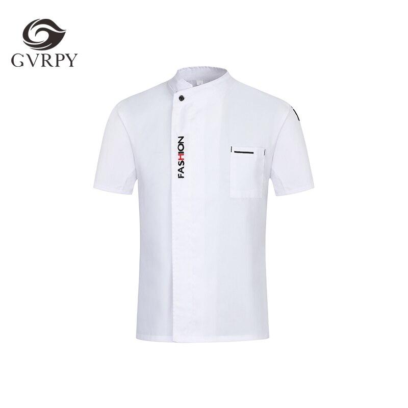 New English Letter Embroidery Short Sleeve Chef Shirt Jacket Coat Food Service Workwear Hotel Restaurant Cafe Waiter Uniform