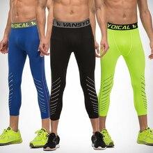 Men's Compression Capri Leggings 3/4 Training pants Cool Three-quarter Joggers Running Workout Gym Tights Sportswear
