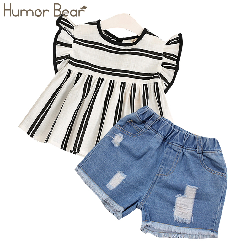 Humor Bear Girls Clothes 2019 Brand Girls Kids Clothes Suit Children Clothes Stripe Girl Tops+ Pant Fashion Girls Clothing Sets