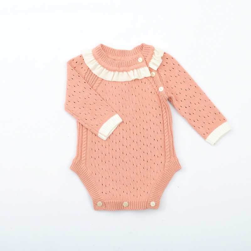1481 Spring And Autumn 2019 Pink Stomatal Air-permeable Cotton Long-sleeved Girls Romper Toddler Knitted Outfits1481 Spring And Autumn 2019 Pink Stomatal Air-permeable Cotton Long-sleeved Girls Romper Toddler Knitted Outfits
