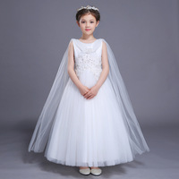 White Flower Girls Wedding Dresses Evening Party Dress Teens Girl Princess Dress Kids Costumes 3 4
