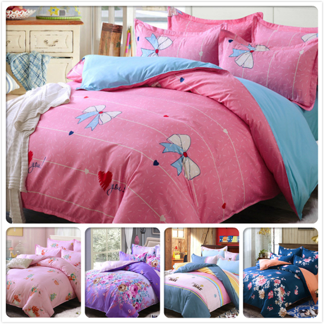 Pink Duvet Cover Cotton Winter Bed Linen 3/4 Pcs Bedding Set Kids  Bedclothes Single