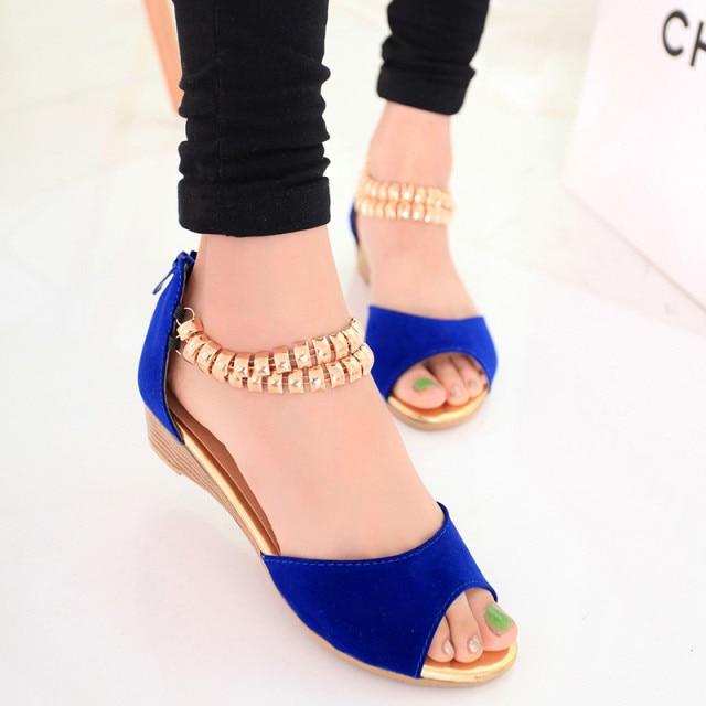 1092b4547 Fashion women s wedges Sandals open toe low-heeled metal chain back zipper  sandals Women flat shoes sexy women shoes