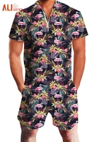 2019 Fashion Flamingos Floral Print Rompers Men Short Sleeve Zipper Jumpsuit Playsuit Men's Casual Party Beach Overalls Clothing