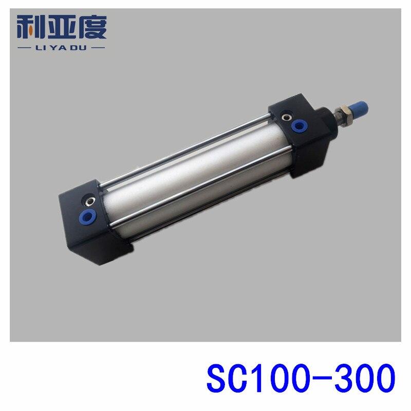 SC100*300 Rod aluminum alloy standard cylinder SC100X300 pneumatic components 100mm Bore 300mm Stroke sc100 100 rod aluminum alloy standard cylinder sc100x100 pneumatic components 100mm bore 100mm stroke