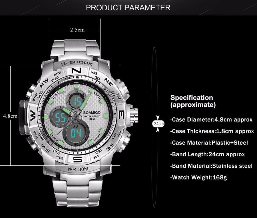 BOAMIGO Fashion Sport Man Watches Stainless Steel LED Digital Watch Analog Quartz Movement Waterproof Dual Display Wristwatches (7)