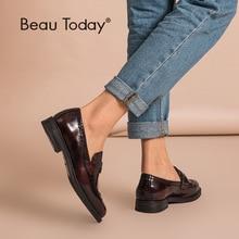 BeauToday mocassins à stylo à bout rond pour femmes, chaussures à bout rond en cuir véritable de vache, chaussures émaillées, chaussures de porte verni, plats, fait à la main, 27039