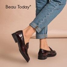 حذاء بدون كعب للسيدات من BeauToday بنس مصنوع من جلد البقر الأصلي بمقدمة دائرية وطرف الجناح حذاء مزجج حذاء مسطح مصنوع يدويًا من الجلد اللامع موديل 27039