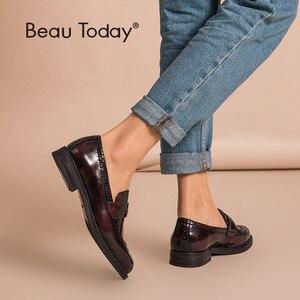 Image 1 - Beautodayペニーローファー女性本物の牛革ラウンドトウ翼端施釉靴パテントレザーブローグフラット手作り27039