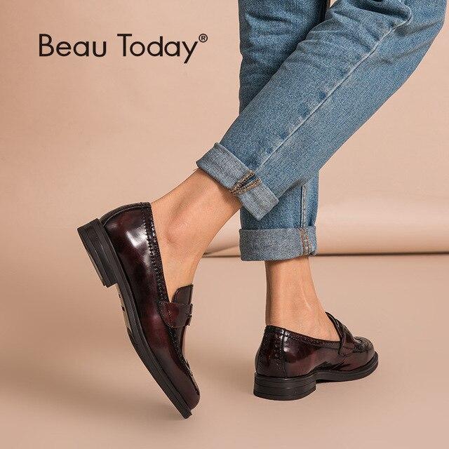 Beautodayペニーローファー女性本物の牛革ラウンドトウ翼端施釉靴パテントレザーブローグフラット手作り27039