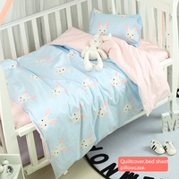 3Pcs Baby Bedding Set Cotton Crib Sets Pattern Infant Flat Sheet Baby Bedding Baby Bed Linen Duvet Cover Pillowcase Baby Bed