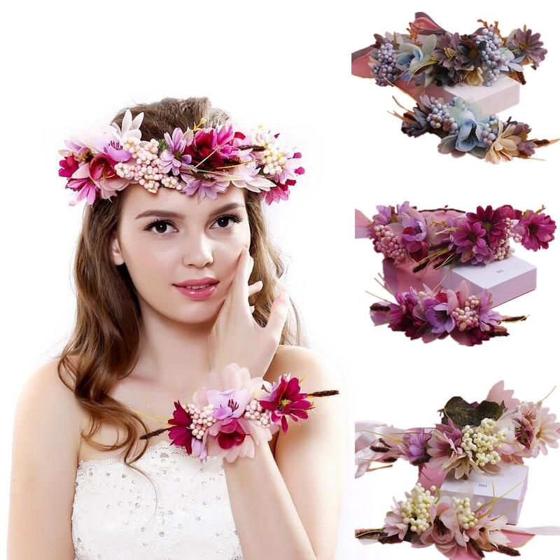 Kid Floral Garland Women Wedding Hair Accessories Bridal Flower Wreath Kids Party Flower Crown Girls Hair Accessories