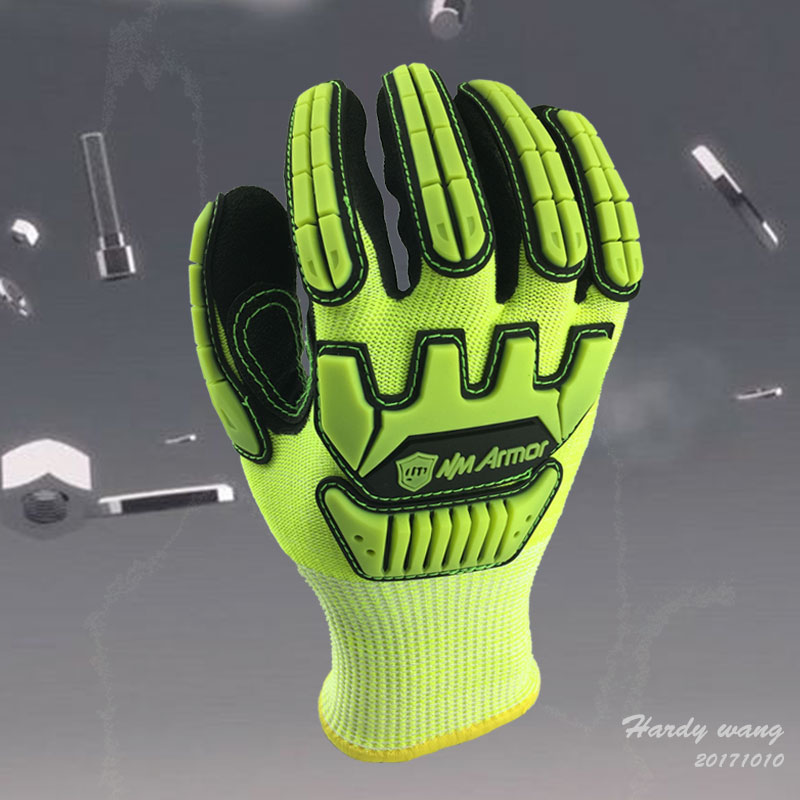 NMSafety Fluorescent Yellow Nylon Shock Absorbing Mechanics Safety Glove Anti Vibration Oil and Gas Impact Resistant Work Glove 2017 nmsafety anti vibration working gloves vibration and shock gloves anti impact mechanics workgloves