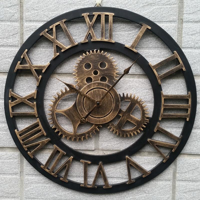 Grand Design rétro horloges décoration Art grande vitesse horloge murale en bois murale Restaurant maison salon ornements muraux R1538
