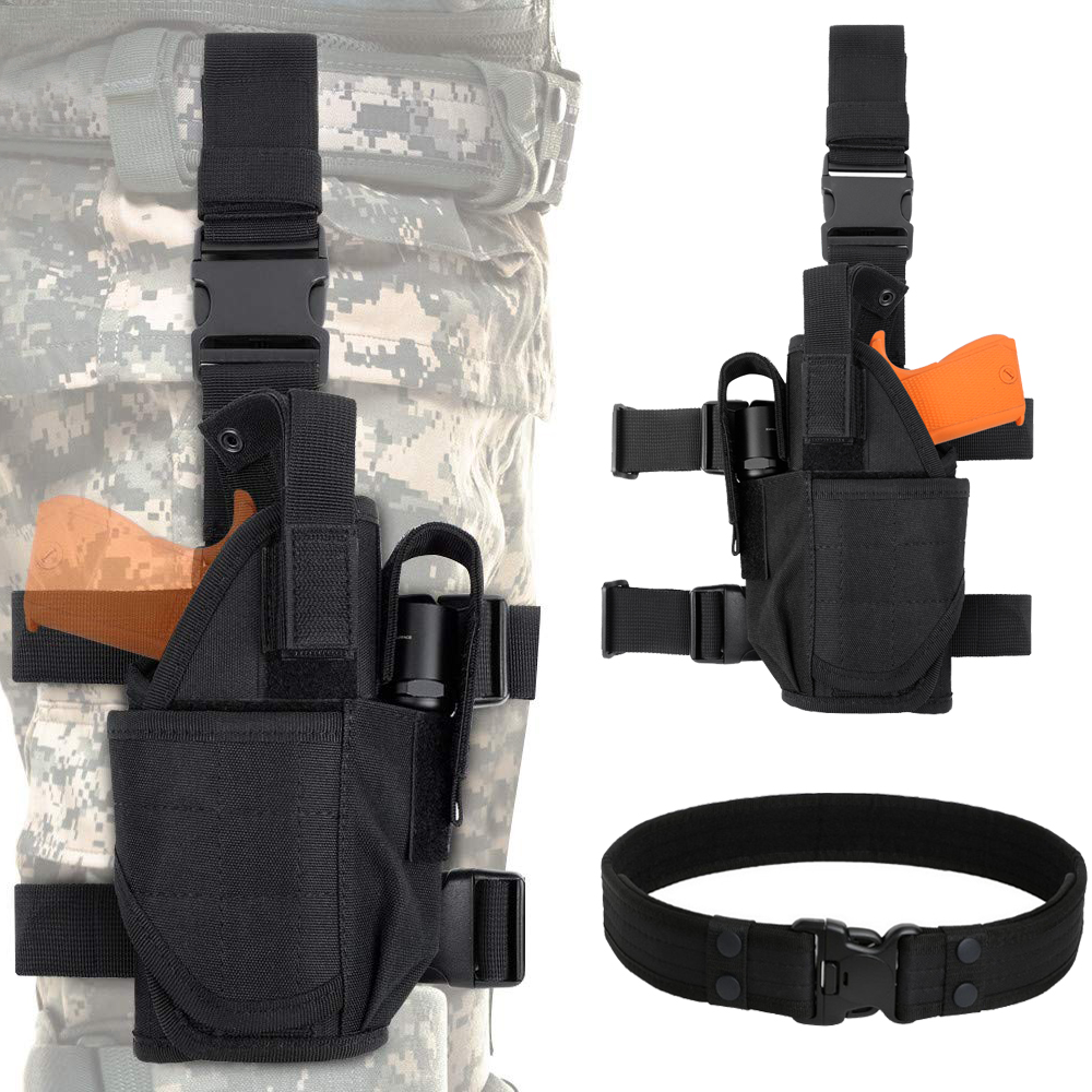 Tactical Drop Leg Pouch Gun Holster Adjustable Thigh Pistol Holster With Magazine Pouches For Left/Right Handed Magazine Pouch