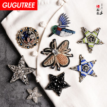 GUGUTREE embroidery beaded bee star patches bear bird badges applique for clothing SK-14