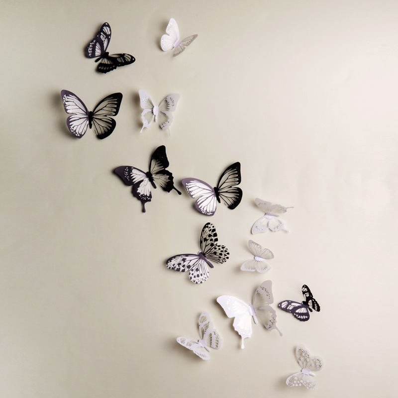 product Crystal 18Pcs 3D Butterflies DIY home decor wall stickers for kids room Christmas party decoration kitchen refrigerator decal