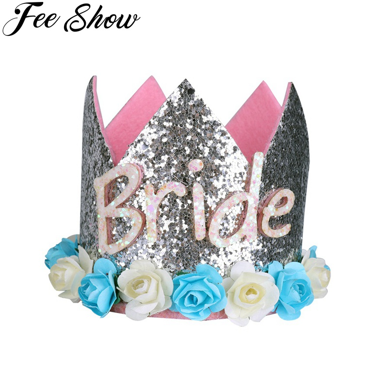 FEESHOW Baby Princess One Bride Crown Tiara Sparkly First Birthday Party Hat Artificial Flower Headband