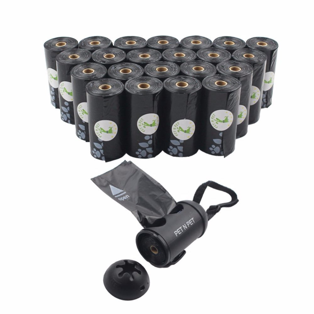 Dog Poop Bags Earth-Friendly 414 Counts 23 Rolls Large Unscented Dog Waste Bags Doggie Bags Black With Dispenser