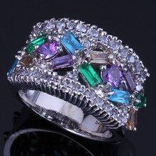 Prominent Multigem Multicolor Sky Blue Cubic Zirconia 925 Sterling Silver Ring For Women V0551