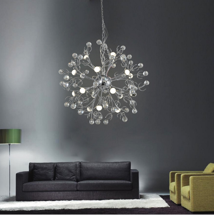 European restaurant crystal chandelier simple ball bedroom modern simple LED creative living room lighting dining room modern crystal chandelier led hanging lighting european style glass chandeliers light for living dining room restaurant decor