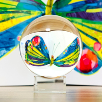 70/80/100# Photography Crystal Ball Ornament FengShui Globe Divination Quartz Magic Glass Ball Home Decor Sphere Free Base