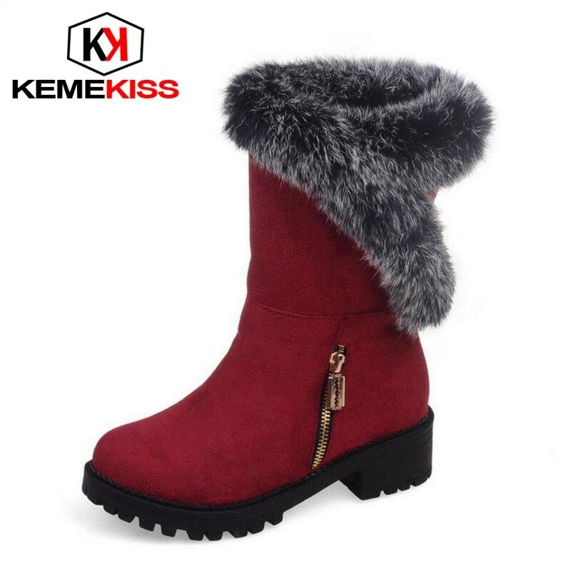 KemeKiss New Fashion Woman Warm Snow Boots Women Flats Round Toe Boot font b Botas b
