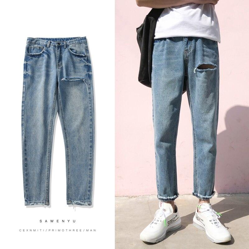 2018 New Men Fashion Classic Blue Wash Holes Cowboy Ankle-length Pants Stretch Slim Fit Jeans Homme Denim Trousers Male M-2XL