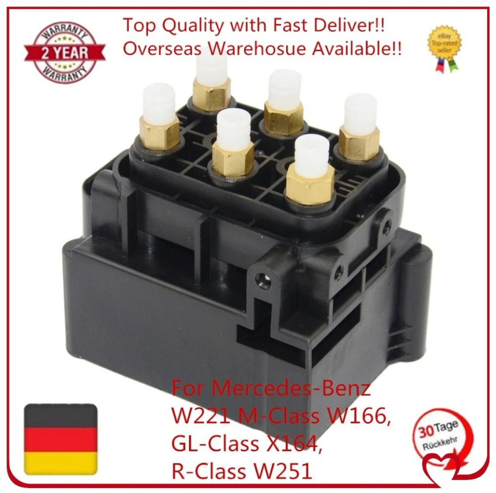 New Air Suspension Solenoid Valve Block For Mercedes-Benz W221 M-Class W164, GL X164, R W251 A2123200358 1663200204 A251320005 2pcs lot error free direct fit led number license plate lights lamp for benz w251 r class w164 ml class x164 gl class