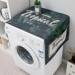 Nordic roślin zielonych pokrowiec na pralkę lodówka pokrywa kuchenka mikrofalowa pościel bawełniana wodoodporna pokrywa w Pokrowce na pralki od Dom i ogród na