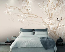 Beibehang wallpaper photo plain magnolia Chinese style hand-painted flowers and birds background walls decorative 3d wallpaper beibehang custom wallpaper magnolia hand painted flowers and birds tv background wall decorative painting murals 3d wallpaper