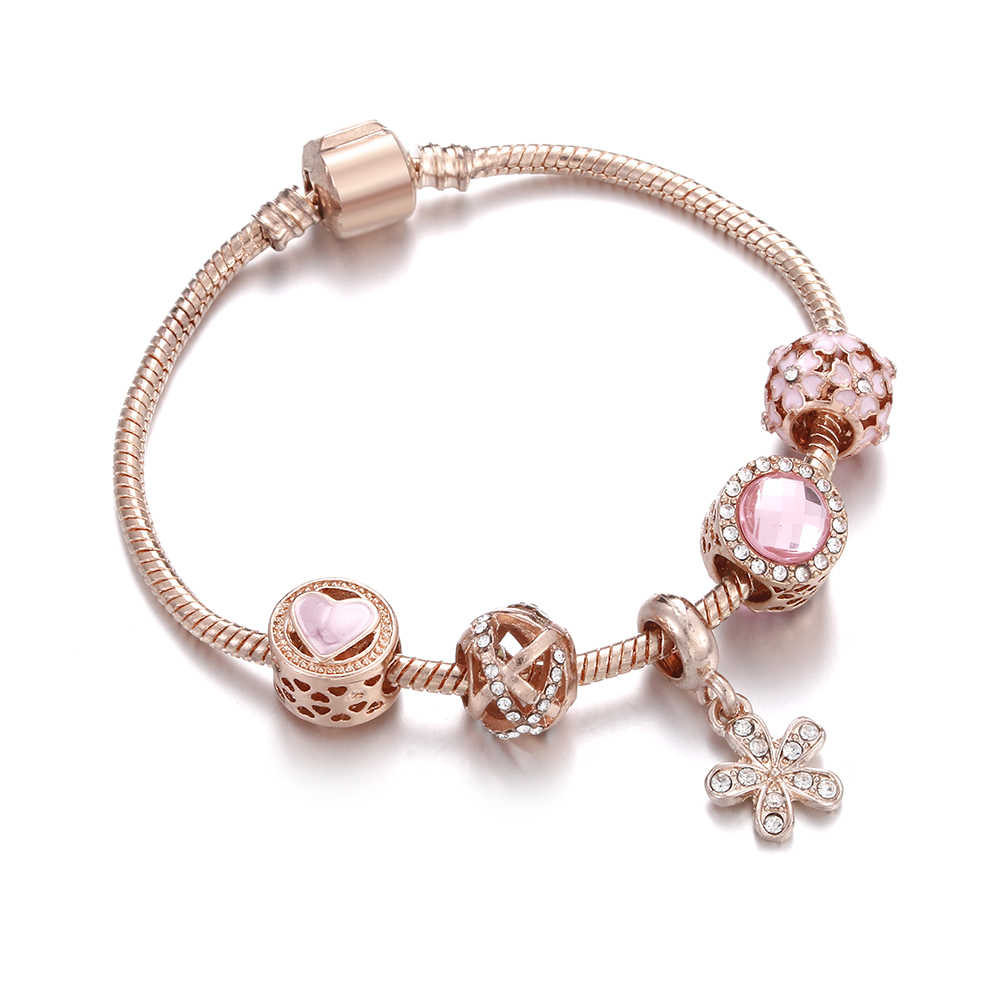 Fashion Gold Luxury Chain Pink Flower Hollow beads Crystal Pendant Bracelets & Bangles Charm Women Bracelet Jewelry Accessories