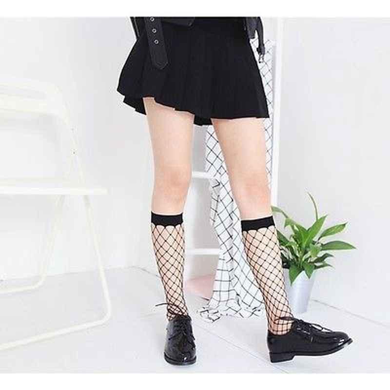 Seksi Fishnet çorap yaz bayan örgü dantel balık ağı kısa Glitzy çorap Transparnt kadın fırfır ayak bileği yüksek moda Medias