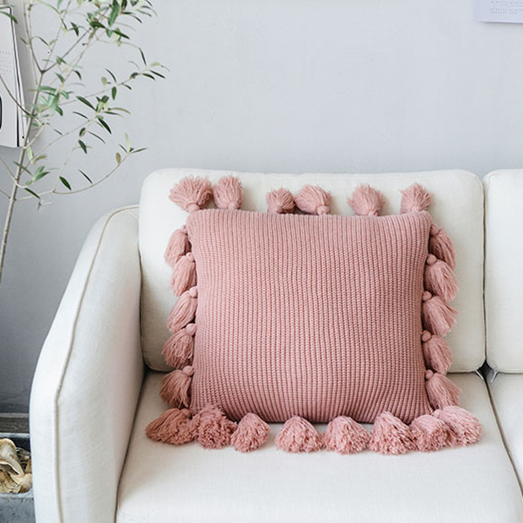 Knitted Pillow Covers Solid Color Square Pillow Case Soft For Sofa Bed Nursery Room Cushion Case Tassels Knitting Pillowcase