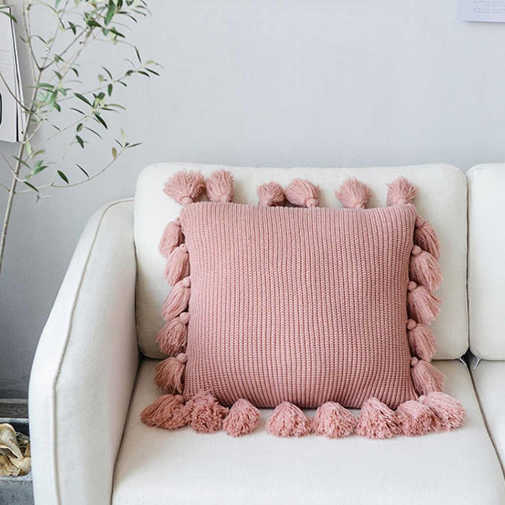 Rajutan Sarung Bantal Warna Solid Square Bantal Case Lembut untuk Tidur Sofa Kamar Bayi Kamar Sarung Bantal Rumbai Merajut Sarung Bantal