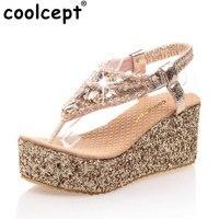 Coolcept rozmiar 31-47 kobiet jakości kobiece buty klinu szpilki sandały platformy mody pani rhineston P13671