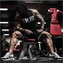 AW fall Men's bodybuilding string tank tops men fitness tank tops sleveless hoodie