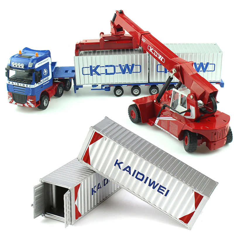Legering Diecast 1:50 Lage Bed Transporter Container/Reach Stacker/Front Trolley Vrachtwagen Rubber Band Vehicles Kids Gift speelgoed