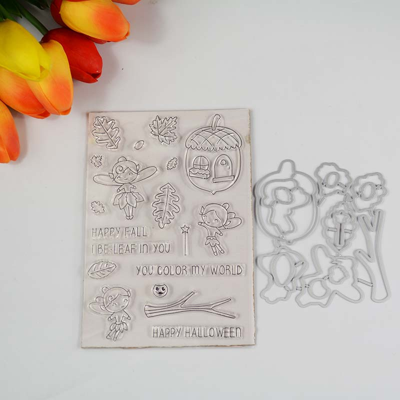 Happy Fall Transparent Clear Stamp/coordinating Die For DIY Scrapbooking/Card Making/Kids Fun Decoration Supplies