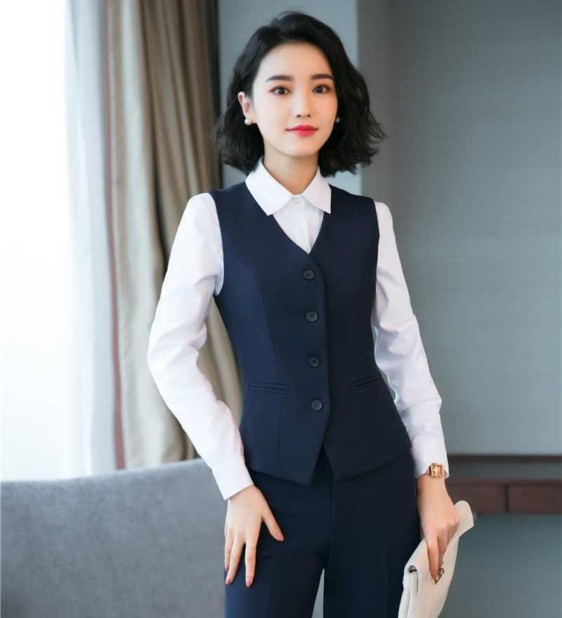 Formal Women Waistcoat & Vest Navy blue Office Uniform Designs Style Ladies  Work Wear Business Clothes Vests & Waistcoats  - AliExpress