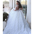 Glamorous White Queen Ann Backless Ball Gown Lace Wedding Dresses Beaded Cathedral Train Floor-Length Bridal Gowns