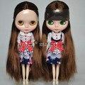 Frete grátis nudez Blyth boneca, Com cabelos castanhos lisos, Moda boneca apropriado para DIY alterar bjd, Para presente da menina, Pj012