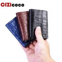 New Crocodile Skin Card Holder RFID Aluminium High Quality Metal Men Credit With Blocking Mini Wallet