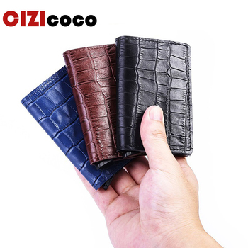 New Crocodile Skin Card Holder RFID Aluminium High Quality Metal Men Credit Card Holder With RFID Blocking Mini Wallet фото