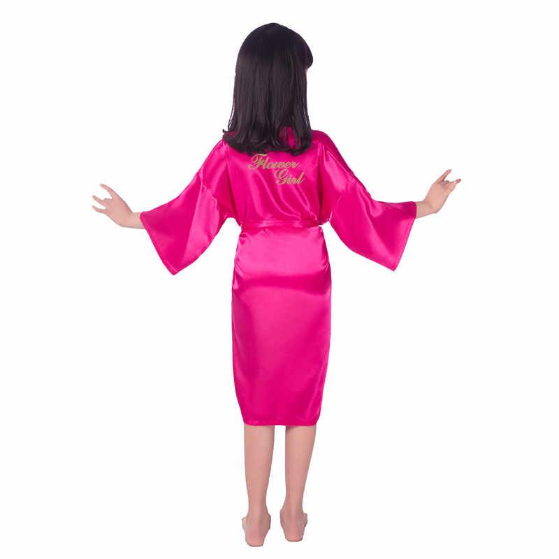 花嫁介添人のベビーフラワーの女の子ローブ花嫁のウェディングパーティーの子供子供着物バースドレス子パジャマ寝間着