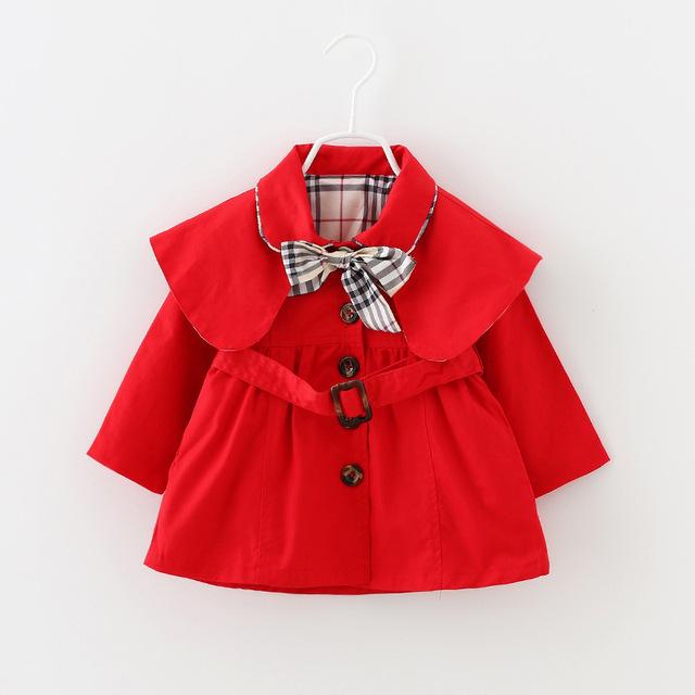 2016 Crianças Casacos & Coats Meninas Primavera Outono Casaco Meninas moda Outwear Crianças Cinto Arco Casaco Desgaste Do Bebê Meninas Casuais roupas