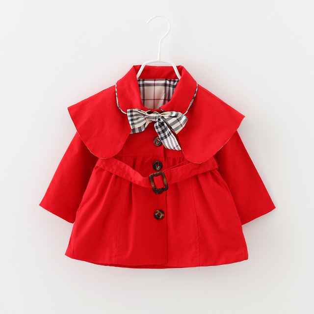 2016 Kids Jackets & Coats Spring Autumn Girls Coat Girls Fashion Outwear Kids Belt Bow Jacket Baby Wear Girls Casual Clothing