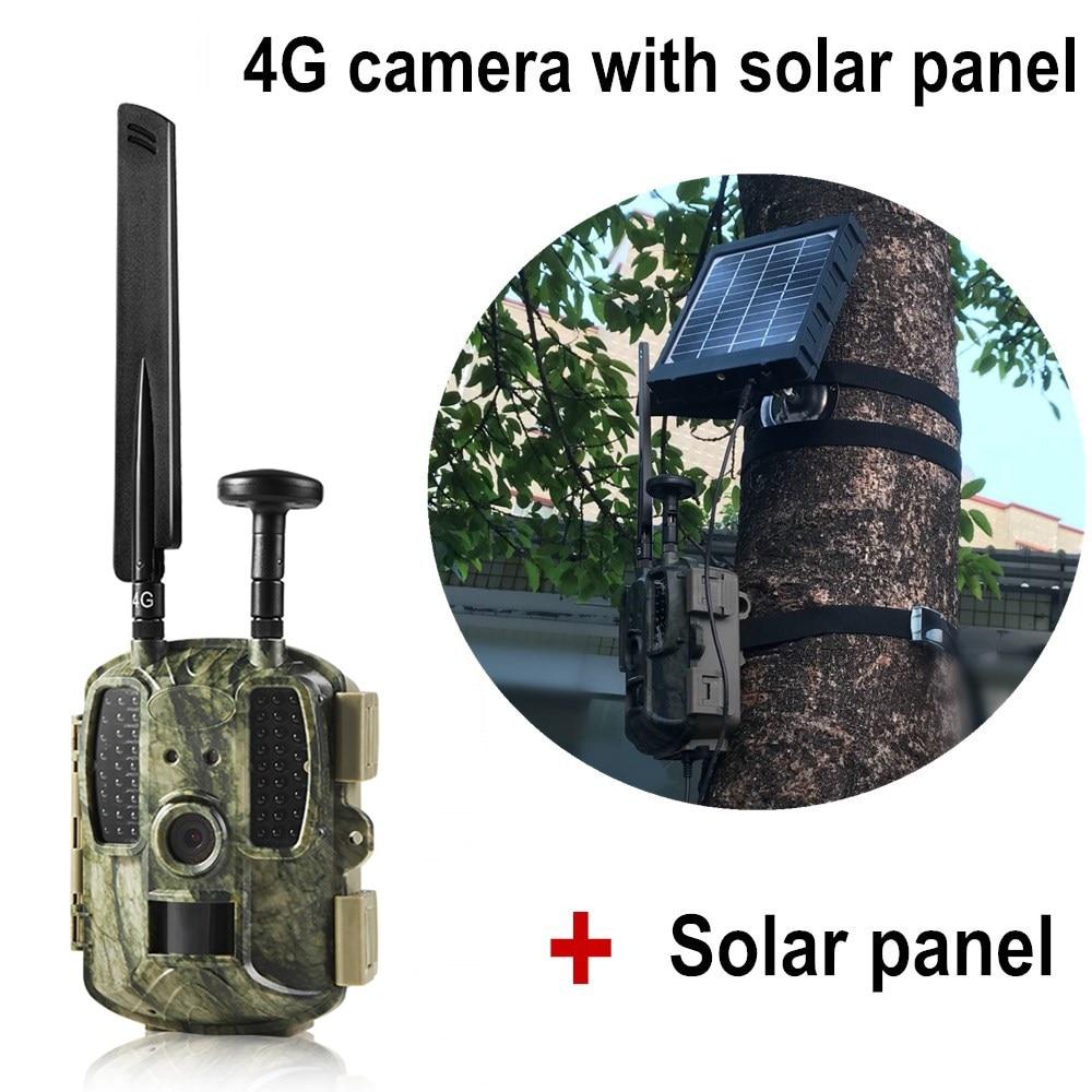 GPS di Caccia della macchina fotografica 4g Con 3000 mah Pannello Solare Mobile APP di Controllo Senza Fili di Rilevamento del Movimento Chasse Macchina Fotografica Della Fauna Selvatica Trappola foto 4g